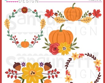 Fall Wreath Clipart, Fall clipart, Fall floral clipart, JPG, PNG, commercial use, Instant download