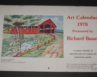 Vintage 1978 Richard Bauer's 1st Art Calendar MOUTH-PAINTED Artwork with his Story
