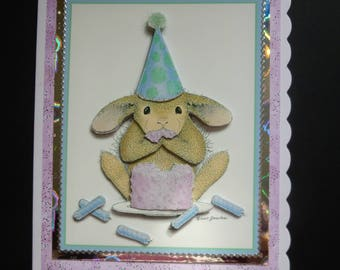 Cute Bunny Rabbit & Birthday Cake 3d Decoupage card - Handcrafted in UK