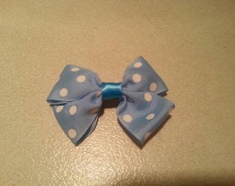 Handmade Blue Polka Dot Double-Layered Ribbon Hair Bow