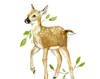 Fawn Print, Wall Art, Deer Print, Deer Art, Watercolor Print, Spring, Woodland Art, Art Print