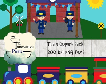 Train Clipart Pack - Locomotive Clipart - Railroad clipart - Conductor Clipart - train track clipart -travel clipart -transportation clipart