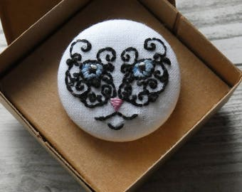 Hand Embroidered Cat Face Brooch, brooch, Black, Cat, Feline, Mystic, Handmade, Cotton,Free Postage to UK