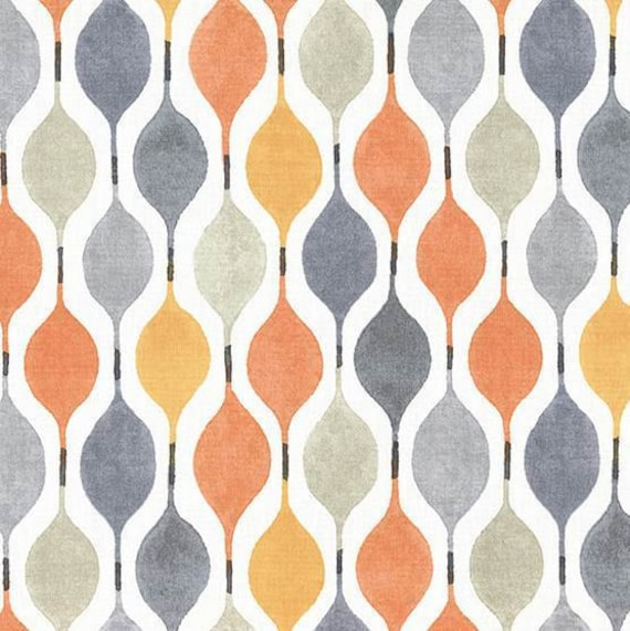 Orange Grey Geometric Upholstery Fabric Modern Yellow Grey