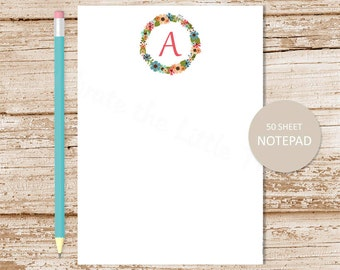 personalized notepad . floral note pad . floral wreath initial notepad . womens stationery . monogram flowers . stationary gift