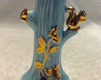 Vintage 1930's robins egg blue 22k gold trim tree with squirrel vase.