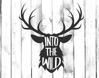 Into The Wild - Deer Antlers - Deer Hunting Decal - Di Cut Decal - Home/Laptop/Computer/Truck/Car Bumper Sticker Decal