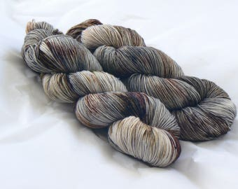 Gone to Earth - Hand Dyed Speckled Sock Yarn - Merino Nylon - Neutral - Grey Brown Black Taupe