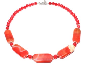 Red Agate Necklace - Red Beaded Necklace - Statement Jewellery - Red Statement Necklace - Beadwork Jewelry - Big Skies Jewellery