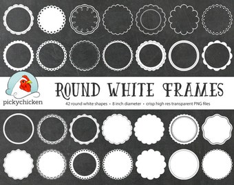 Round White Circles clip art - 42 white digital doilies doily lace frames labels tags clipart photography overlay 5030