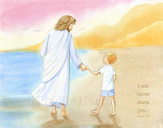 Children\'s Wall Art Jesus and little boy walking on the