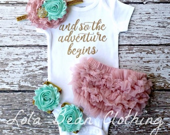 Baby Girl Coming Home Outfit And So the Adventure Begins Take Home Outfit Newborn Baby Girl lolabeanclothing Dusty Rose Mint