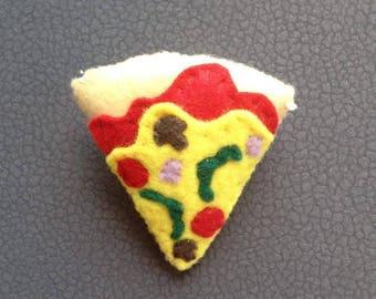PIZZA FELT BROOCH, Pizza Pin, Food Brooch, Felt Plush Pizza, Felt Accessories, Gift for Her, Handmade Brooch