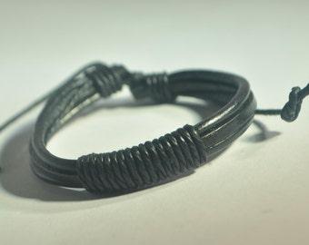 Single Black hemp rope with Black leather bracelet