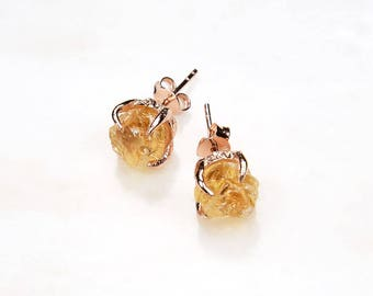 Citrine earrings. Rose gold citrine earrings. Citrine gold earrings. Yellow gemstone earrings. November birthstone earrings. Yellow quartz.