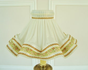 Vintage lampshade, French lampshade, Shabby chic, French country, 1950's lampshade, Pleated lampshade, Frilly shade, French home decor