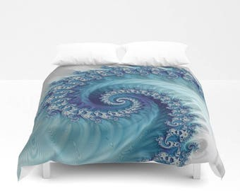 Blue and White Wave Fractal Duvet Cover/Comforter, Mandelbrot Trippy Aqua Bedding, Sacred Geometry Infinity Bedroom Decor, FREE SHIPPING USA
