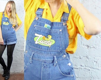 90's Tweety Bird Denim Jean Overall Shorts in Women's Small Shorteralls 1990s Blue and Yellow Looney Tunes Kawaii Summer Fun