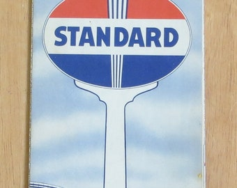 Vintage 1940's Standard Oil Co. Illinois Advertising Road Map