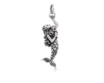 Mermaid Charm Sterling Silver 31x8mm with soldered jump ring - 1pc 20% discounted (4281)/1