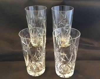Set of 4 Vintage Cut Crystal Water Glasses Pinwheel pattern