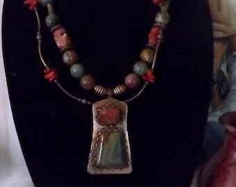 So Southwest Red Creek Jasper and Coral Necklace with Copper