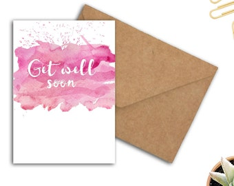 Watercolour Get Well Soon Card - Card For Her - Encouragement Card - Typography Printable Card - Pink Greeting Card - Instant Download