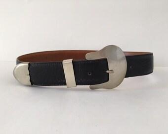Vintage Black Leather Western Belt Silver Buckle Metal Tipped Waist Belt Size Small  Cowboy Belt