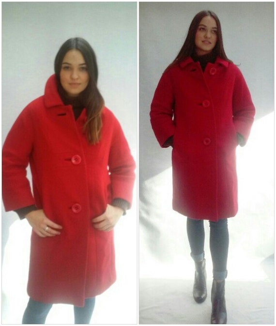 Red Wool Coat / modern minimalist coat / Parisian made / s / m