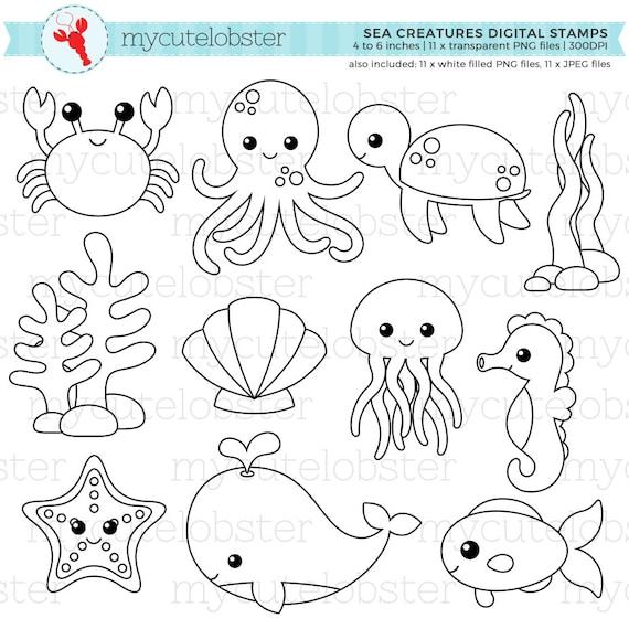 sea creatures digital stamps outlines line art crab