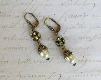 Vintage Assemblage Drop Earrings with Vintage Rhinestone Brass Ball Beads and Swarovski Crystal Pearls