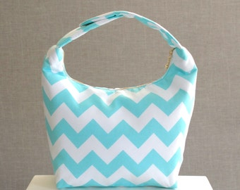 Insulated Lunch Bag, Lunch Bag For Women , Chevron Lunch Tote, Lunch Bag Insulated, Reusable Lunch Tote, Women Lunch Bag-Aqua Chevron