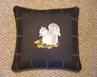 Embroidered Squirrel Pillow
