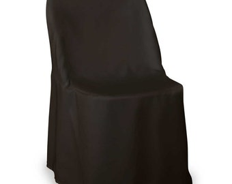 Set of 10 or more polyester Folding Wedding Chair Cover, chair slipcover- Black fantasyfabricdesigns, all colors available,