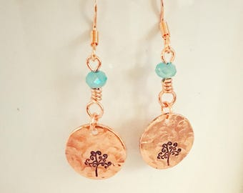 Tree of life-tree earrings-copper jewelry-copper earrings-rustic jewelry-gift for her-flower earrings