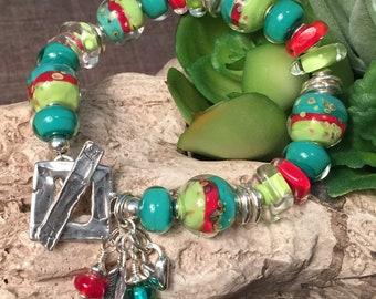 MINT JULEP, artisan lampwork and sterling silver bracelet