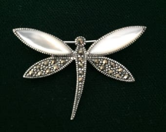 Vintage Sterling Silver Dragon Fly Mother of Pearl Marcasite Brooch