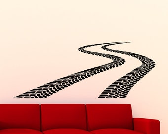 Tire Tracks Wall Decal Car Road With Traces Of Tire Garage Vinyl Sticker Home Room Interior Decoration Waterproof High Quality Mural (300xx)