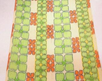 cream  of CITRUS   // Vintage Kimono SILK & LINEN fabric // BLOSSOMs in muted Lime Tangerine Lemon on Cream  // 14 x 75  inches