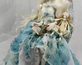 Blue Hydrangea Porcelain OOAK BJD art doll by Julia Arts