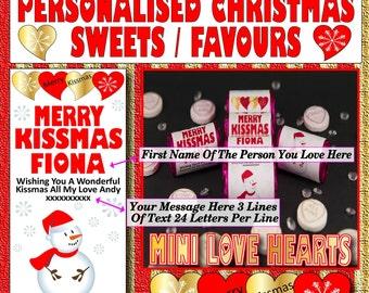 Merry Christmas or Merry Kissmas personalised packs of mini Love Sweets - Love Token or Christmas gift
