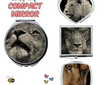 Lion compact mirror, makeup mirror, cosmetic mirror, portable mirror, double sided compact makeup mirror, purse mirror