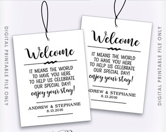 Wedding Welcome Bag Tags, Hotel Bag Labels, Out of Town Guests, Destination Wedding, Thank You Tags, Custom Digital Printable File