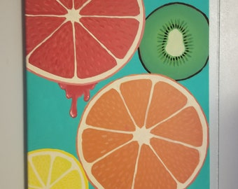 Sunny Summer Citrus 12x16 canvas Acrylic