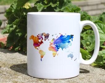 Map of the world - Map mug - Colorful printed mug - Tee mug - Coffee Mug - Gift Idea