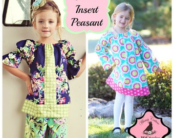 Peasant Dress Pattern with Center Insert Top/Dress -- with 3/4 and long sleeves PDF Instant