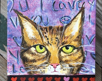 Small Cat Painting on Canvas, Original Cat Painting, Tabby Cat Art, Gift for Cat Lover