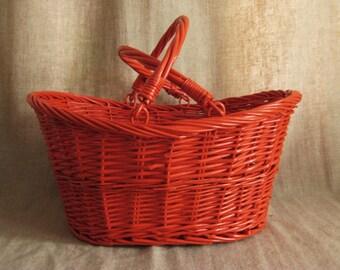 Large Painted Basket in Red Orange  UPCYCLED Vintage Basket / Bright RED Orange Picnic BASKET