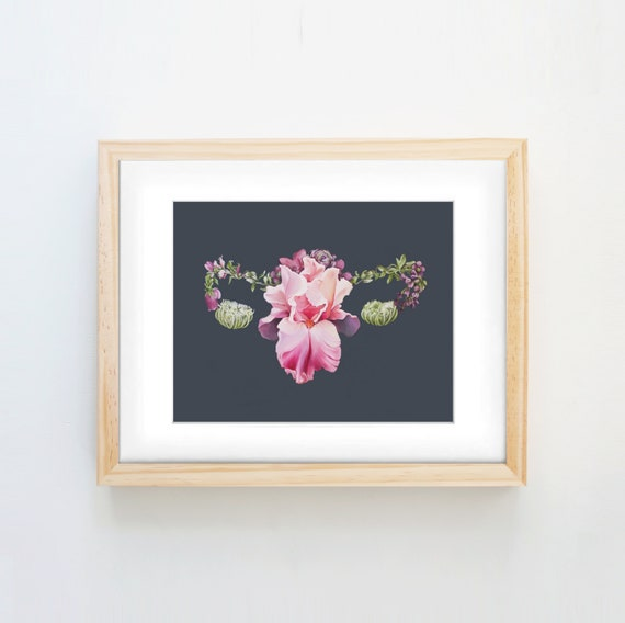Floral Uterus Female Anatomy Print Of Oil Painting