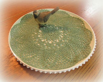 """Crochet Doily in Sea Foam Green-- Pineapple Doily with Flower Center--12""""--Free Shipping"""